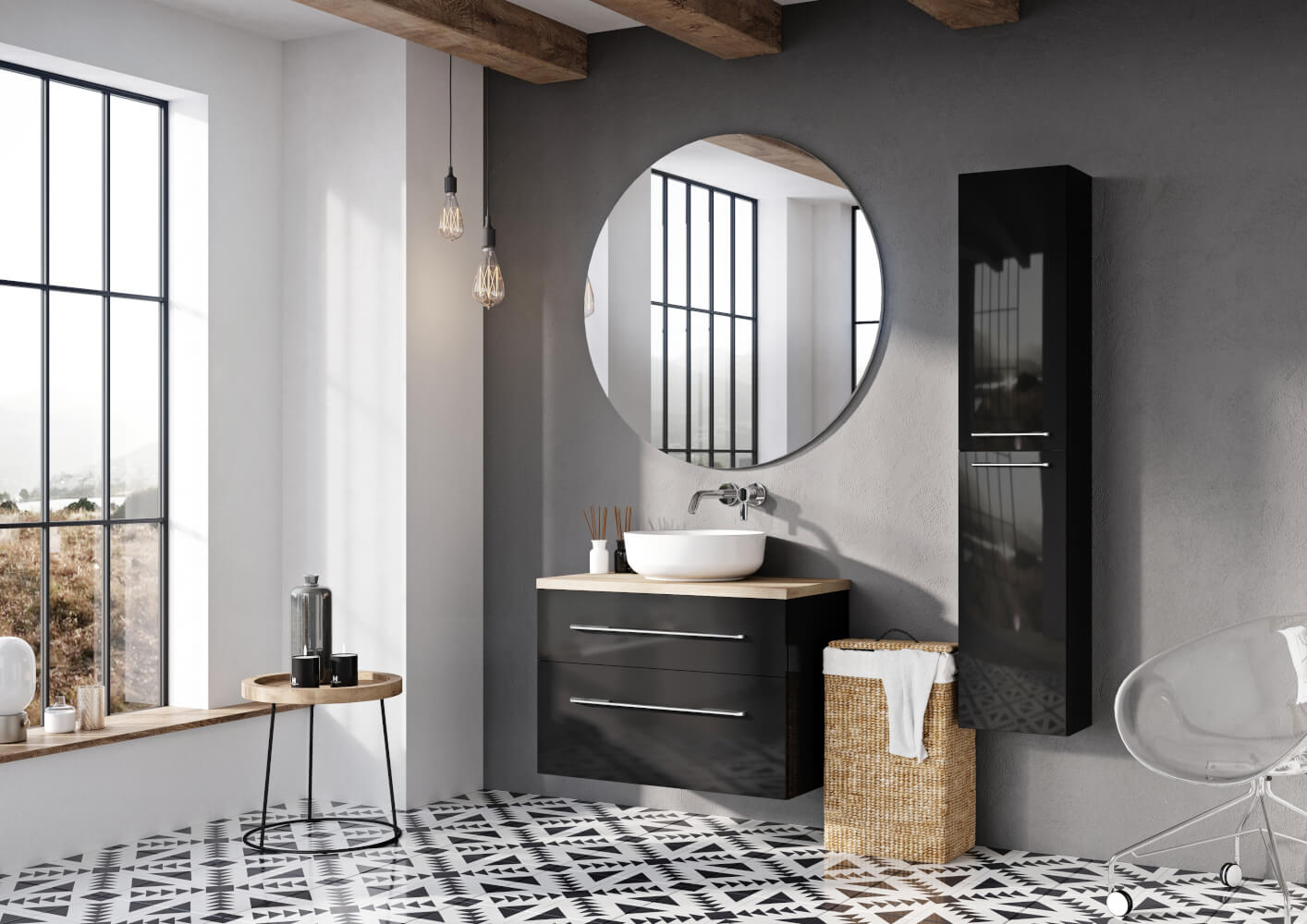 Czarno Biała łazienka Czemu Nie Elita Meble łazienkowe